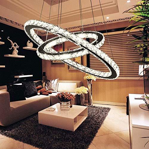 Lámpara de araña de cristal, 56 W, lámpara colgante moderna para comedor, lámpara LED de doble anillo, diseño elíptico, lámpara de techo de cristal para salón, restaurante