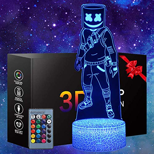 3D Night Light Battle Royale LED Lamp Game Series Toys 16 Colors Changeable with Remote Control Optical Illusion for Birthday Holiday Christmas Decor Gift(Marshmello)