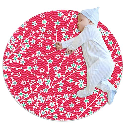 Rond Tapis La Floraison des Cerisiers Japonais Moderne Design Tapis Lavable en Machine Tapis Décoratif pour Cuisine Salon Chambre 70x70cm