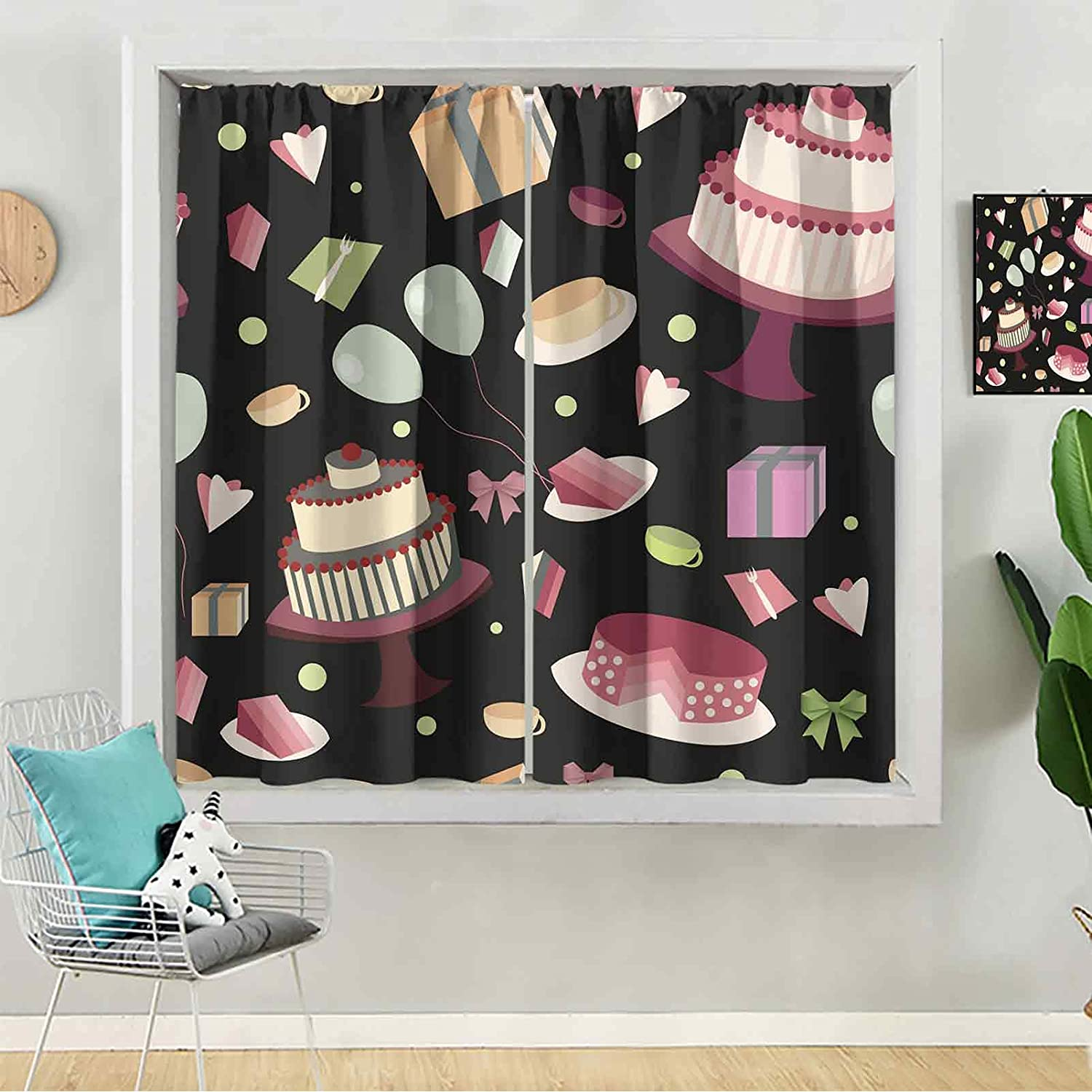 Blackout Curtains Festive Seamless Classic Pattern Popularity Black a Backgroun on