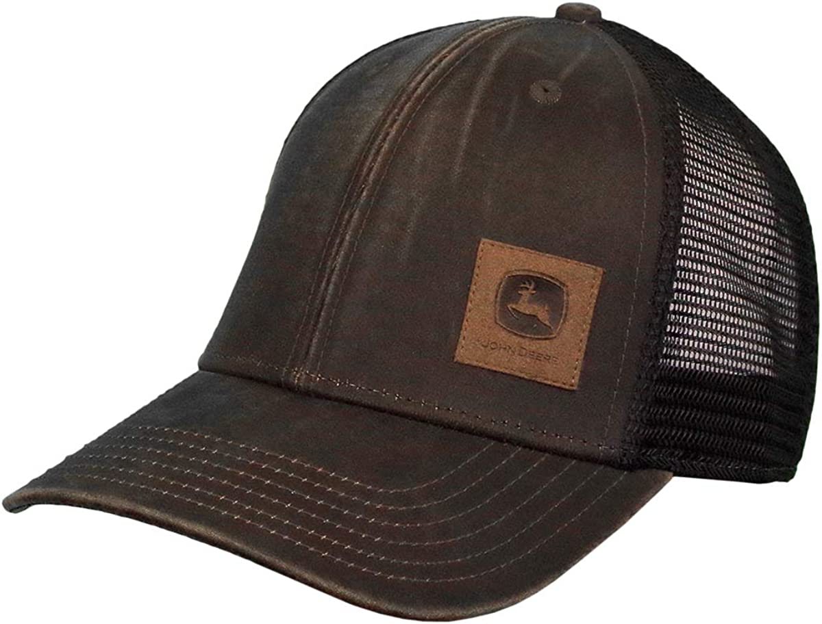John Deere Oil Coated Soft Mesh Hat W/Sueded Patch, Brown, Brown/Black, One Size
