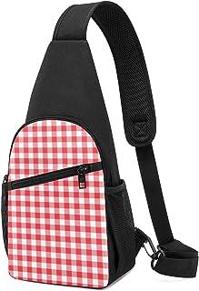 PGTry Strawberry Gingham Sling Bag - Mochila de hombro ligera para el pecho, bolsa cruzada para viajes, senderismo, para h...