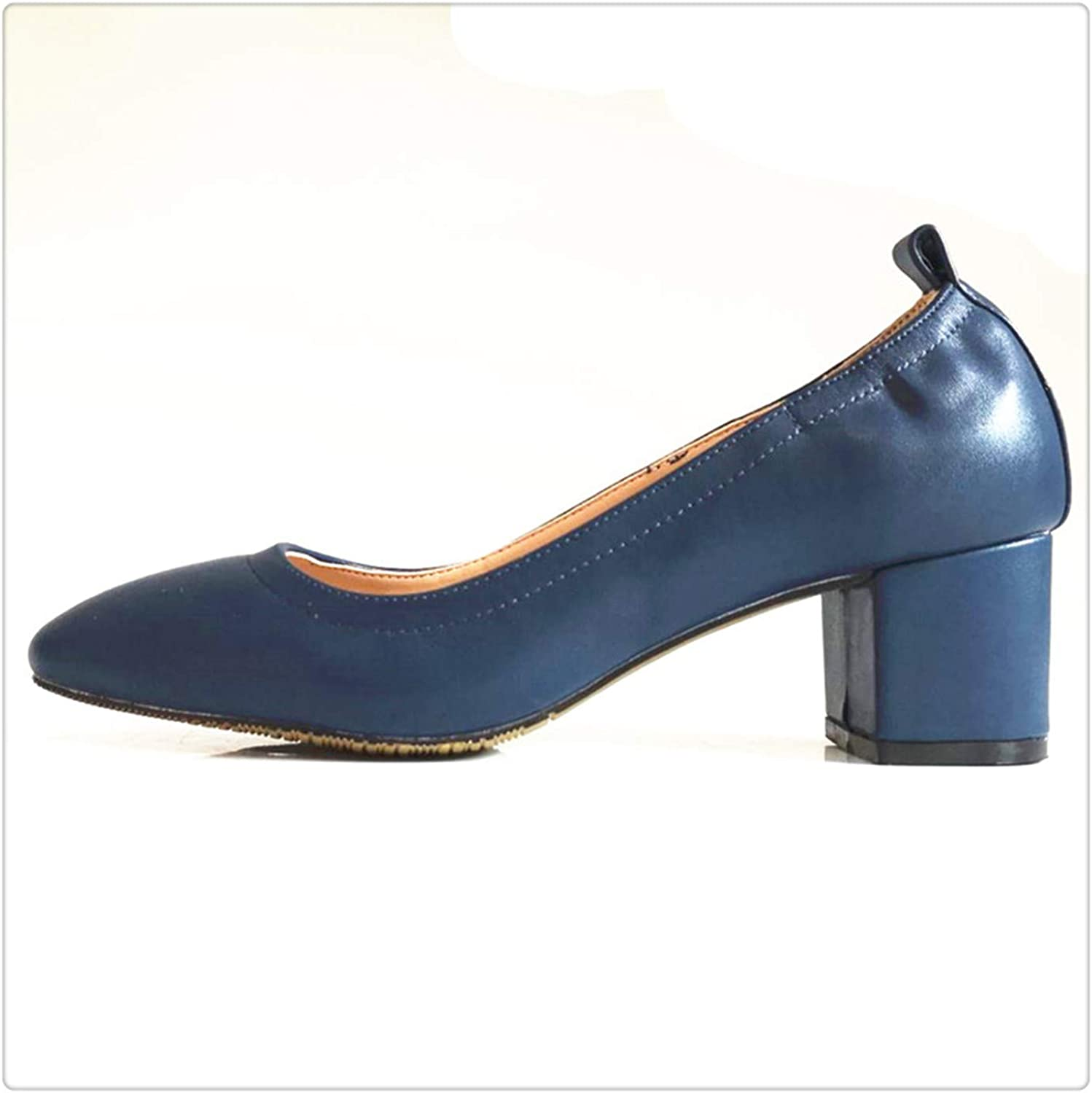 Dmoshibei Genuine Leather orange Office and Career Rounded Toe 2-inch Block Heel Lady Pump