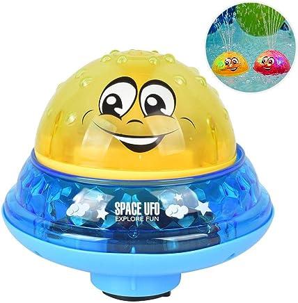BathツFountainツToy,Hamkaw Sprinkler Ball Toy,Water Splash Ball Toy with Light for Kids,Baby Bathtime Fun, Ideal Bath Toy Summer Pool Toy
