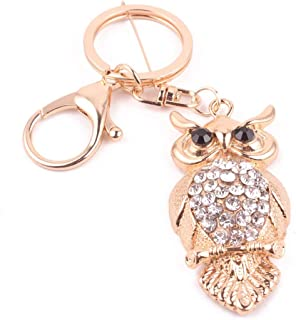 Animal Zodiac Diamond Owl Keychain Bag Accessories Car Accessories-Gold-1 Size