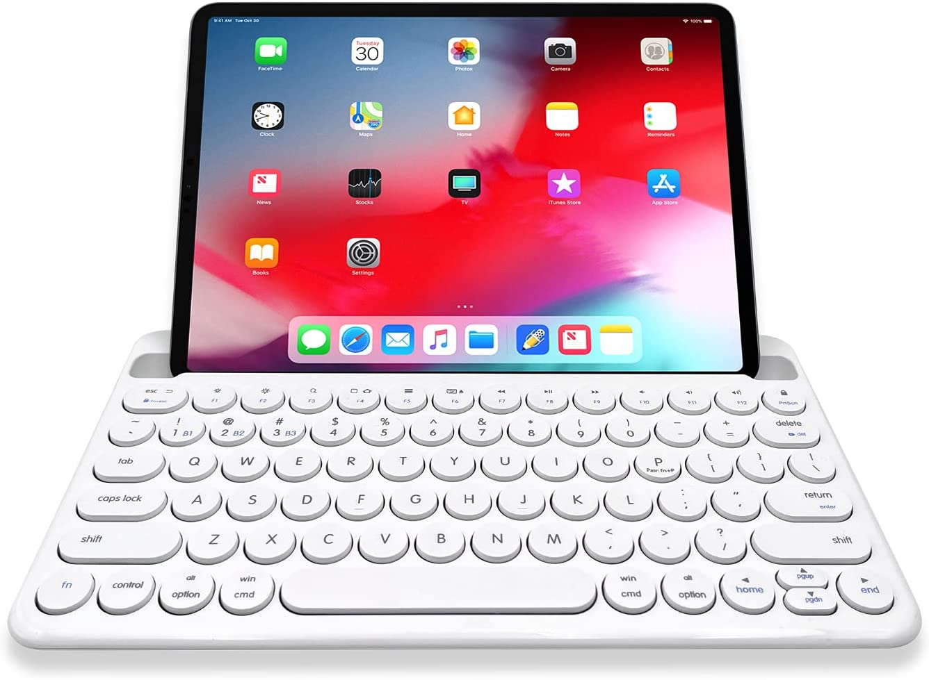 Macally Small Bluetooth Keyboard for Tablet and Phone - (Mac/PC/iOS/Android) Universal Multi Device - Rechargeable Bluetooth Wireless Keyboard with Stand - 78 Key Bluetooth iPad Keyboard Small - White