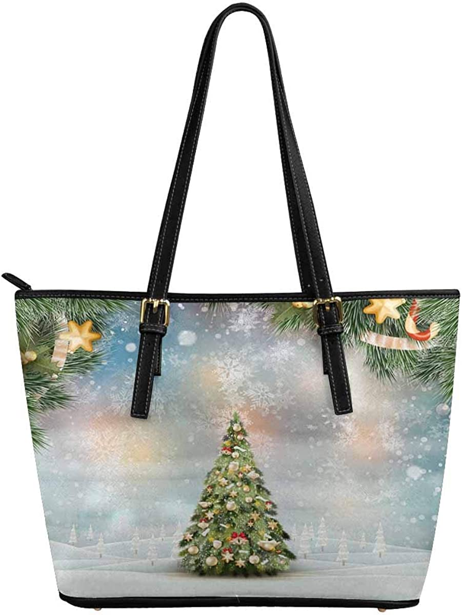 InterestPrint Christmas Santa Clause Tote Shou quality Department store assurance Leather Snowflake