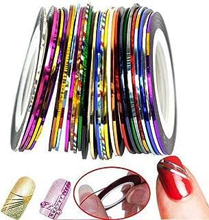 STHKL 30 Pcs/Bag 1Mm Mixed Colors Radium Nail Line Sticker Roll Striping Tape Line Nail Art Decoration Sticker Adhesive Art Stick