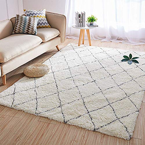 Aishankra Marruecos Blanco Y Negro Plaid Carpet Home Mantener El Calor En El Área De Invierno Alfombras Manta De La Sala De Estar,5'2''X7'5''/160X230CM