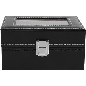 4 Girds Caja de Almacenamiento de Relojes, Estuche de Joyeria PU para Organizador y Exhibición(Rojo): Amazon.es: Belleza