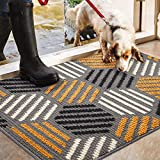 Color&Geometry Non-slip Door Mat 50 X 80 cm, Machine Washable Soft Doormat Dirt Trapper Area Rug Front Door Entrance Rug for Indoor, Outdoor, Living Room, Hallway, Courtyard (Grey)