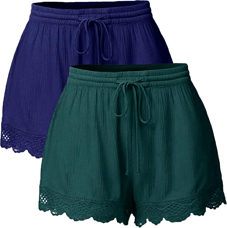 BEUU Womens Summer Ruffle Hem Shorts Lace Trim Shorts Wide Leg Elastic Waist Drawstring Solid Casual Shorts Pants