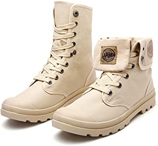 Men's High Top Sneakers Canvas Working Shoe Lace Up Martin Boots