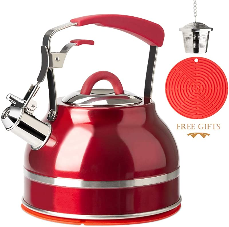 Secura Whistling Tea Kettle 2 3 Qt Tea Pot Stainless Steel Hot Water Kettle For Stovetops With Silicone Handle Tea Infuser Silicone Trivets Mat Red