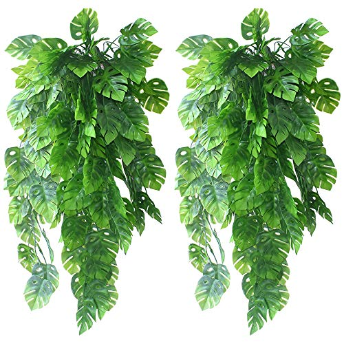 UBERMing 2 PCS Artificial Monstera Leaves Artificial Ivy Leaf Garland Plants Vine Hanging Faux Tropical Monstera Palm Leaves Fake Ivy Plants for Indoor Outdoor Home Garden Wall Décor Hanging Vines