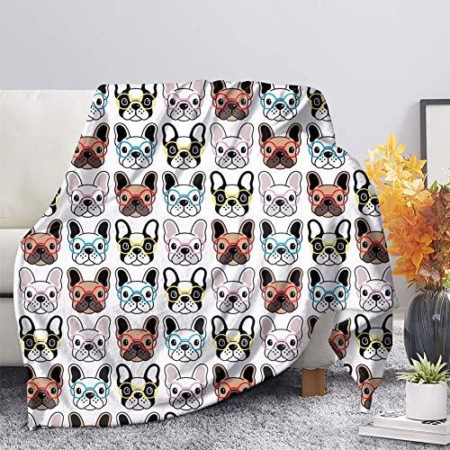 BIGCARJOB Funny Glasses French Bulldog Fleece Blanket Cozy Plush Flannel Blanket All-Season Throw Blanket Lightweight Bedding,70x54 inches