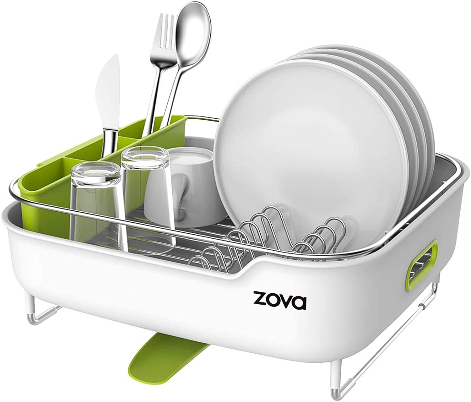 Zova Premium Stainless Steel Dish Drying Rack with Swivel Spout, Dish Drainer Utensil Organizer for Kitchen– Medium, White &Green