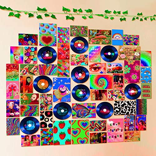 Room Decor for Bedroom Aesthetic - Dorm Room Wall Decor - Indie Wall Photo Collage Kit 61pcs Images Records Artificial Vines - Posters for College Dorm - Trippy Cute Room Decorations Vibes for Teen Girls Students Guys