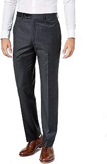 $100 Kenneth Cole Men/'s Slim-Fit Plaid Dress Pants 35 x 32 Shiny Grey NEW