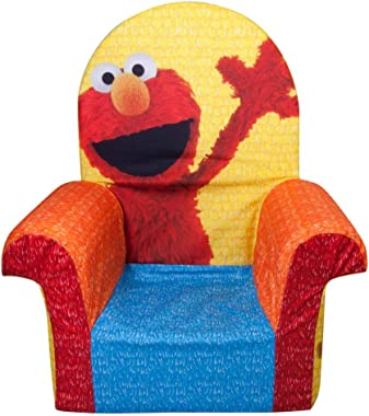 Marshmallow Furniture Comfy Foam Toddler Chair Kid's Furniture for Ages 2 Years Old and Up, Friendly Elmo Themed