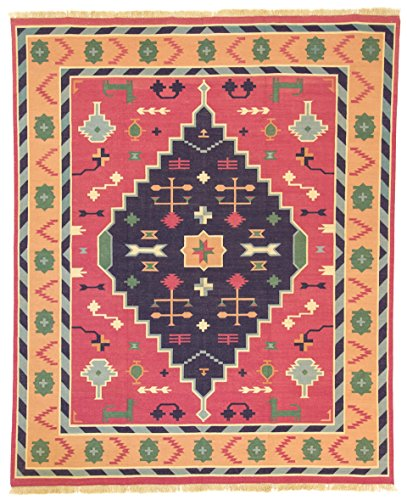 CarpetFine: Tapis Kilim - 240x300 cm Bleu,Rose - Géométrique