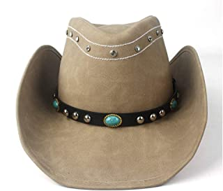 SHENTIANWEI Women Men Western Cowboy Hat with Fashion Leather Punk Band Sombrero Cowgirl Hat