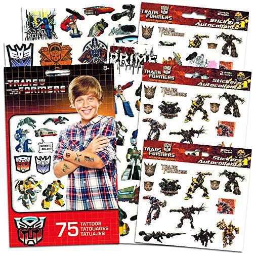 Transformers Stickers and Tattoos Party Favor Pack (Over 75 Temporary Tattoos and 75 Transformers Stickers)