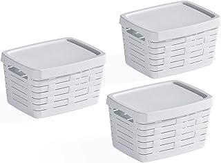 USE FAMILY Bamboo, paniers de rangement salle de bain - 3 x 7 L - empilable - blanc - plastique recyclable