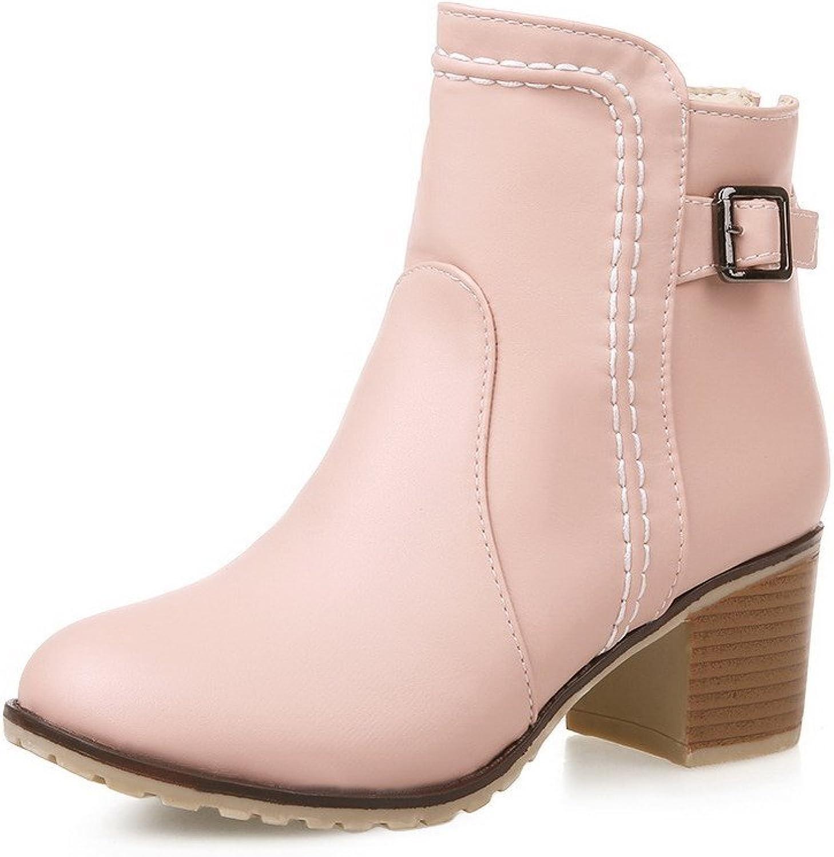 WeiPoot Women's Round Closed Toe Zipper Pu Solid Kitten-Heels Boots