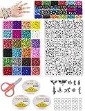 Cuentas de Colores para Hacer Collares Pulseras,3mm 3800pc Cuentas de Colores Mini Cuentas y 6mm...