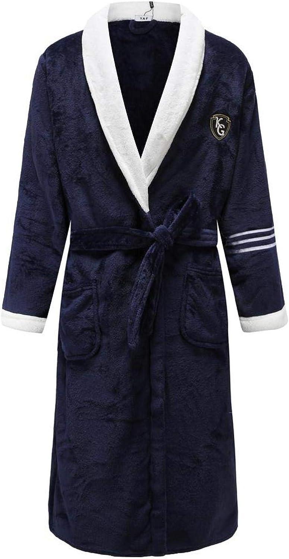 STJDM Nightgown,Elegant Men Flannel Keep Warm Kimono Robe Gown Intimate Soft Sleepwear Bath Casual Full Nightgown Plus Size XXL Men6