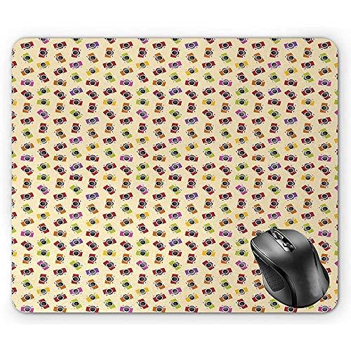 Alfombrilla de ratón Retro, Colorida Imagen de patrón de cámara de Foto Vintage Ilustración de Estilo Hipster Creativo Alfombrilla de ratón Multicolor