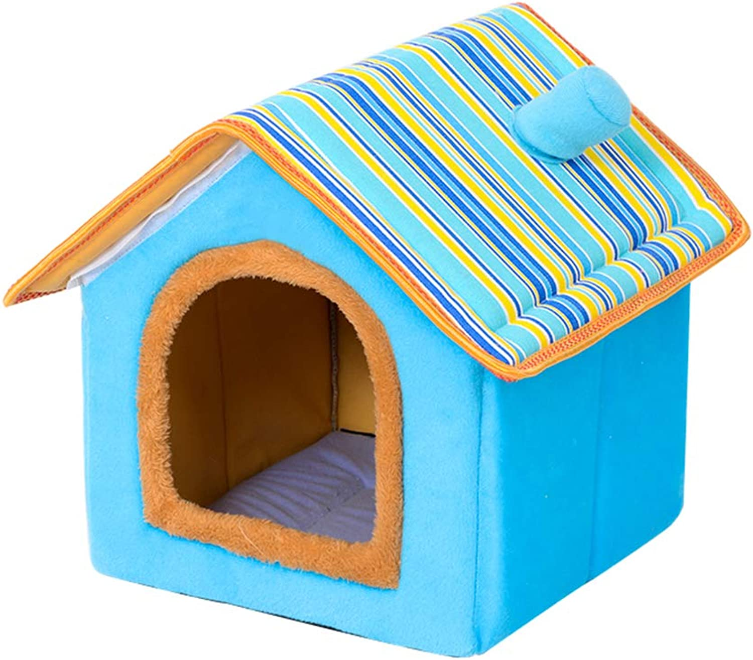 Pet nest Puppy Kennel Four Seasons Washable Small Dog Dog House pet Supplies cat Litter,bluee,S