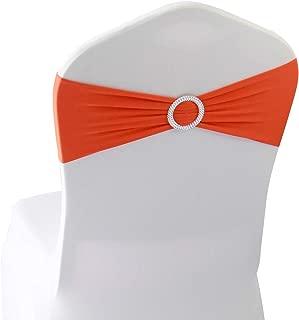 Orange Spandex Chair Bands Sashes - 12 pcs Wedding Banquet Party Event Decoration Chair Bows Ties (Orange, 12 pcs)