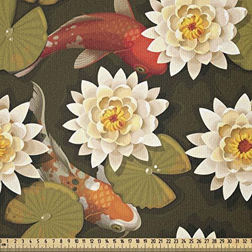 ABAKUHAUS asiático Tela por Metro, Japón inspiró Lotus de Koi, Tela Elastizada Estampada para Costura Arte y Bricolaje, 3 Metros, Burnt Sienna Naranja