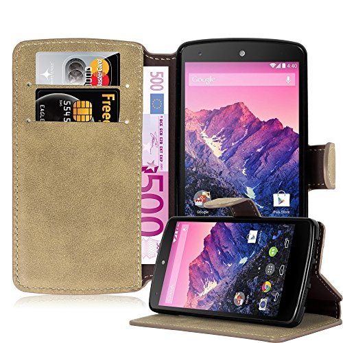 Cadorabo Funda para LG Nexus 5 Funda de Cuero Sintético Retro en MARRÓN Apagado – Cubierta Protectora Estilo Libro con Cierre Magnético, Tarjetero y Función de Suporte – Etui Case Cover
