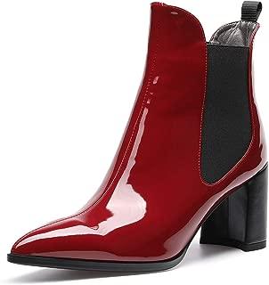 Womens Block Heel Ankle Boots Chelsea Booties Mid-Heel 7.5cm