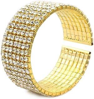 سوار نسائي مرصع بأحجار الراين من JSEA بلون فضي وذهبي مجوهرات حفل زفاف