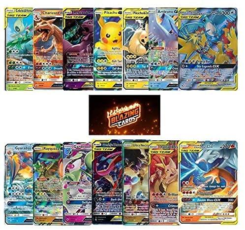 3 Pokemon Cards GX - Real Pokemon Cards - Best Pokemon Packs On The Market- Very Rare Pokemon Cards - Pokemon GX Cards Only - Pokemon TCG - Blazing Cards Sticker!
