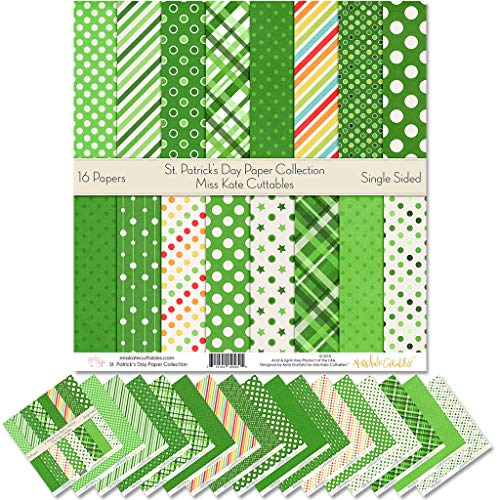 "Pattern Paper Pack - St. Patricks Day - Scrapbook Premium Specialty Paper Single-Sided 12""x12"" Collection Includes 16 Sheets - by Miss Kate Cuttables"