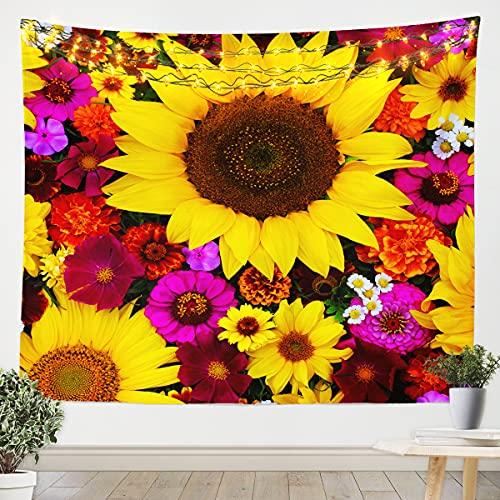 Loussiesd Sunflower Tapestry Kids Teens Daisy Wall Blanket Floral Blossom Flowers Bedding Throw Blanket Medium 51x59