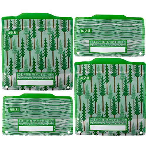 Russbe 18588 Forest wiederverwendbare Snack- & Sandwichbeutel (4er-Set), Kunststoff, grün