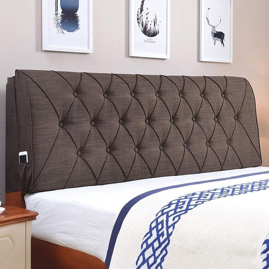 ケージジャングルスムーズにLPD- ベッド背もたれ クッション ベッドの背もたれ マットレス バックレスト 枕を支える 綿とリネン シングルダブルベッドの場合、 4色、 6サイズ オプション (色 : ブラウン ぶらうん, サイズ さいず : 200 x 10 x 60cm)