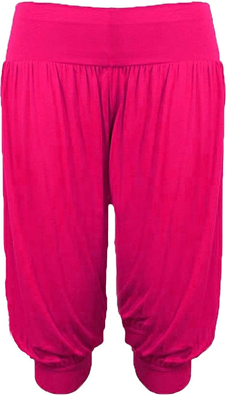 Ladies 3//4 Harem Baggy Shorts Women Plain Cropped Ali Baba Trousers Pants 8-26
