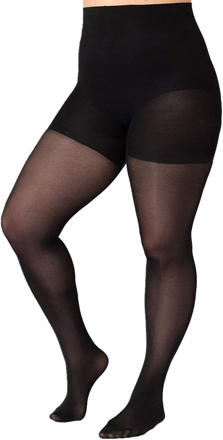 Shapermint Solid Black Opaque Tights with Nylon Control Top Hosiery Pantyhose for Women from Small to Plus Size