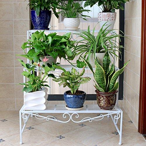 Échelle de fer Fleur Stand Balcon Style de plancher Salon Ensemble Étagères de plantes 3 couches (Blanc) ( Couleur : Blanc )