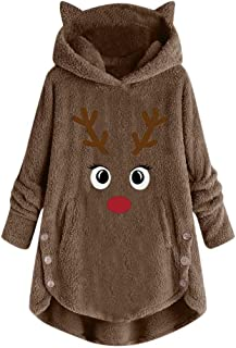 WUAI Women's Fuzzy Fleece Hoodies Christmas Reindeer Patterns Long Sleeve Pullover Tops Cute Cat Ear Hooded Sweatshirt