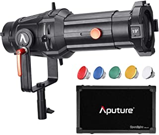 Aputure Spotlight Mount 19° Lighting Modifier with Interchangeable Projector Len and 3 GOBO for Aputure 120D Mark 2 120D LS C300D and Other Bowen-S Mount Light, Including PERGEAR Soft Diffuser