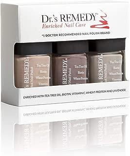 Dr.'s REMEDY Enriched Nail Polish, NAMASTE NEUTRAL COLLECTION 3Piece Boxed Set, Cozy Café/Kinetic Khaki/Motivating Mink