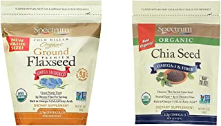 Spectrum Essentials Organic Ground Flaxseed, 24 Ounce (Pack of 1) & Essentials Whole Chia Seeds, 12 Oz